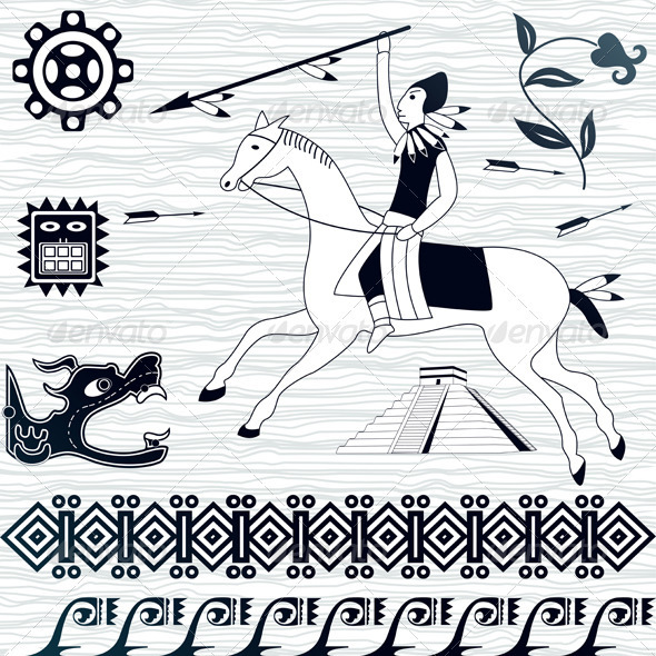 American patterns and horseman - Decorative Symbols Decorative