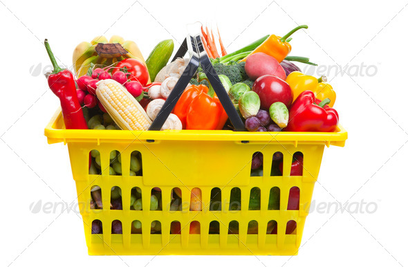 Yellow basket - Stock Photo - Images