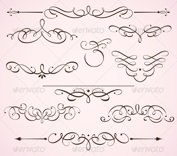Decorative floral elements  - Flourishes / Swirls Decorative