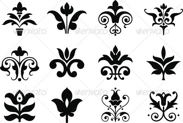Flower Icons - Decorative Symbols Decorative