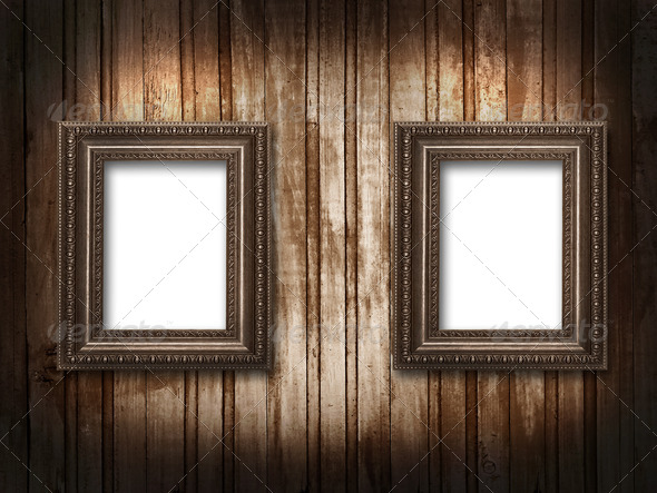 two picture frames on a wooden background grunge - Stock Photo - Images