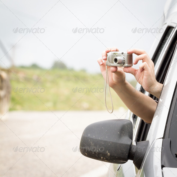 Passenger taking picture - Stock Photo - Images