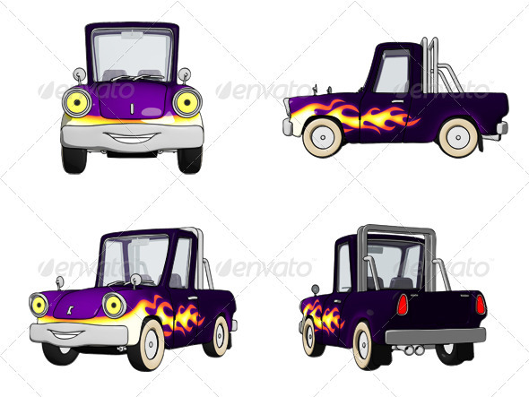 Cartoon Pickup Truck with Roll Bar   - Objects Illustrations