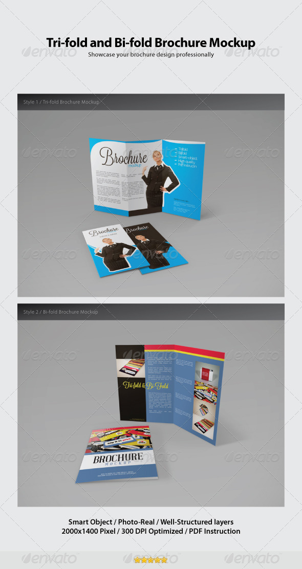 Trifold and Bifold Brochure Mockup - Brochures Print