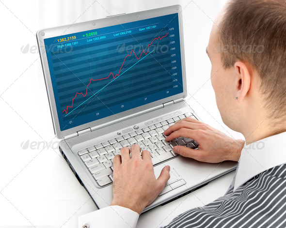 Financial diagram on a monitor - Stock Photo - Images
