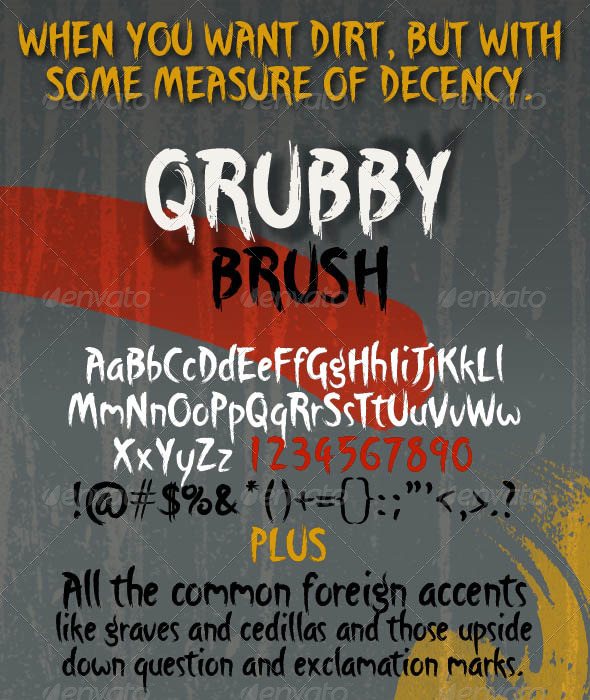 Qrubby Brush Typeface - Graffiti Decorative