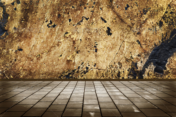 interior room with stone floor tiles and a stone wall grunge - Stock Photo - Images