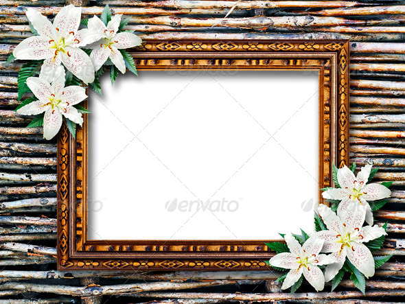 Frame with flowers lilies on wicker background - Stock Photo - Images