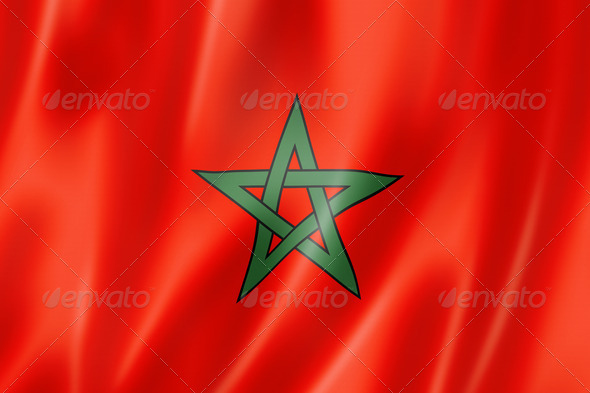 Moroccan flag - Stock Photo - Images
