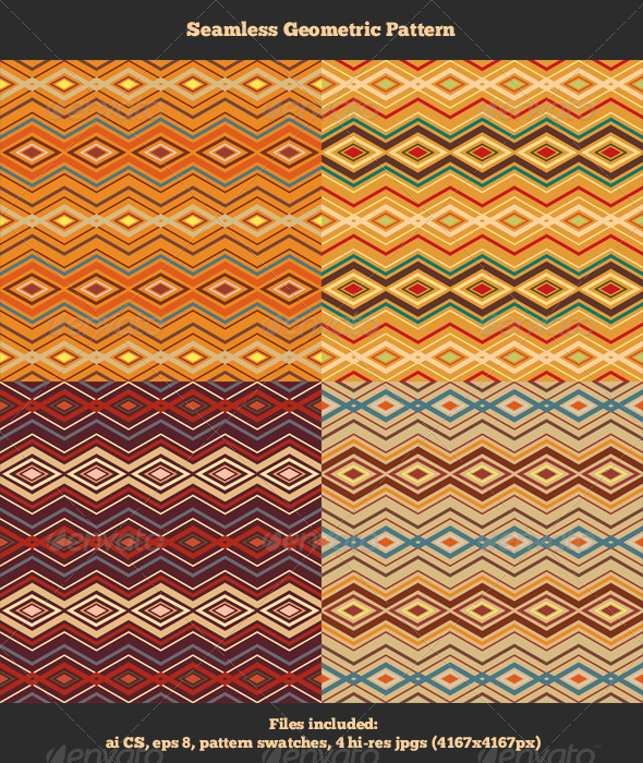 Seamless Geometric Patterns - Abstract Textures / Fills / Patterns