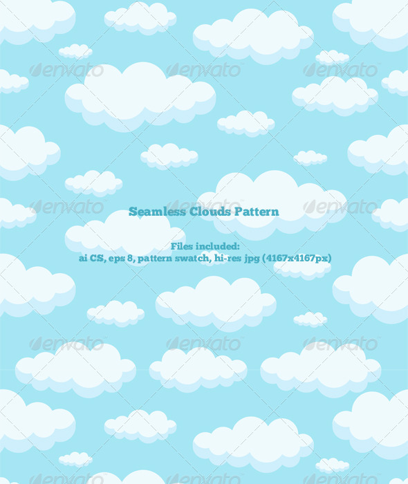 Seamless Clouds Pattern - Nature Textures / Fills / Patterns