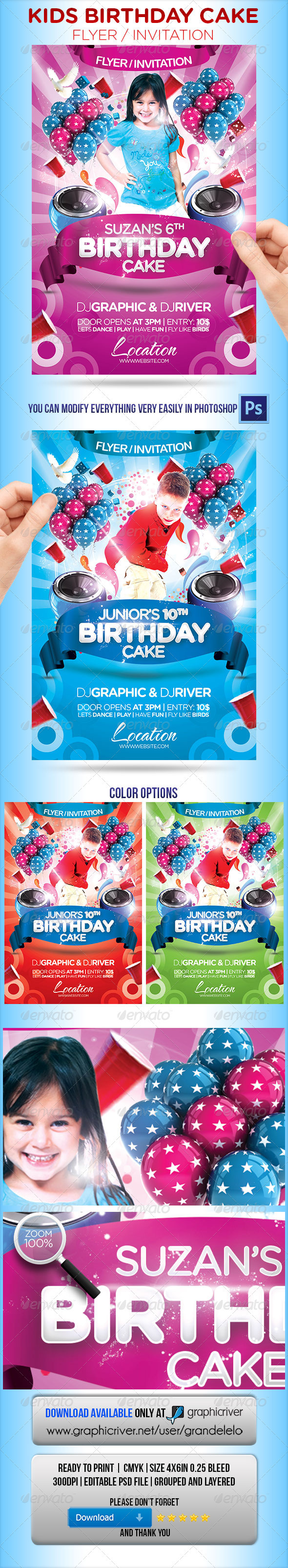 Kids Birthday Cake Flyer Invitation GraphicRiver - Print Templates ...
