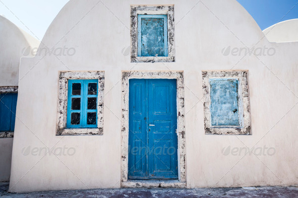 Old house Santorini Greece - Stock Photo - Images
