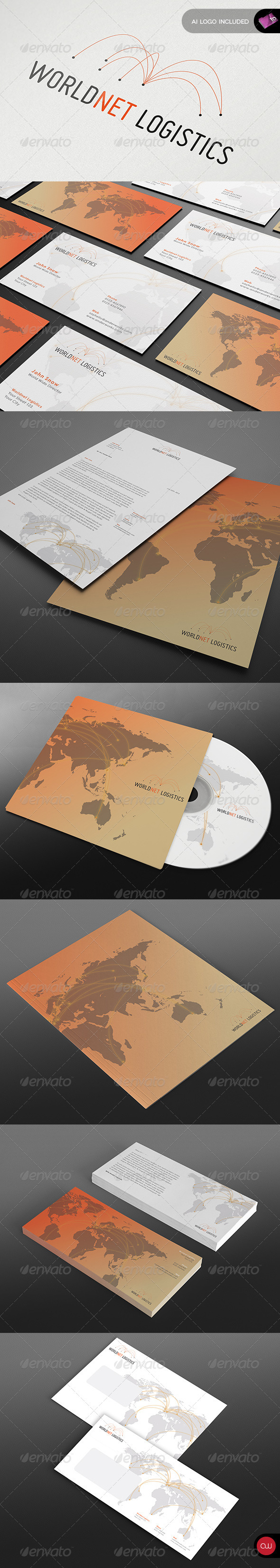 Stationery & Identity - World Net Logistics - Stationery Print Templates