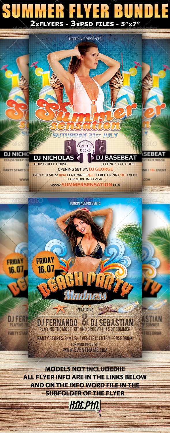 Summer Party Flyer Template bundle - Clubs & Parties Events