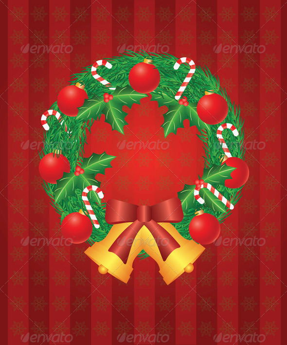 Christmas Wreath with Ornaments Bells and Candy Cane Illustratio - Stock Photo - Images