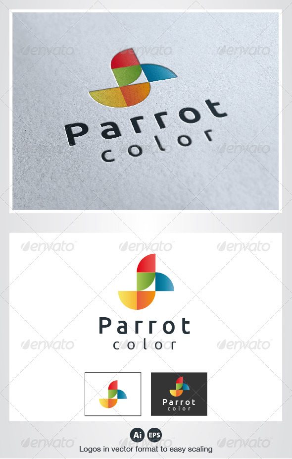 Parrot Color Logo - Animals Logo Templates