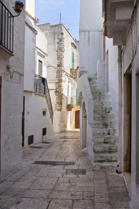 Alleyway. Cisternino. Puglia. Italy. - Stock Photo - Images