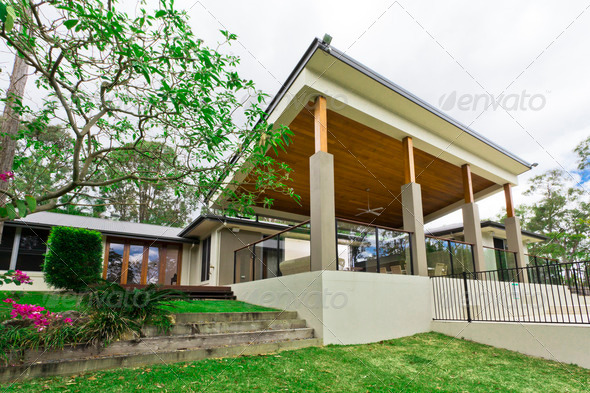 Modern backyard - Stock Photo - Images