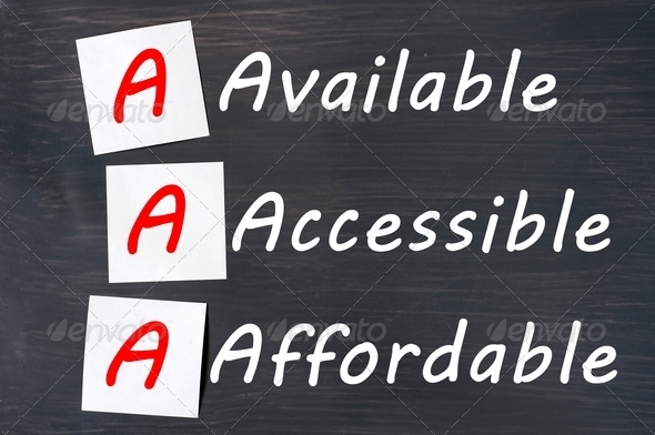 Acronym of AAA - available, accessible. affordable written on a blackboard with sticky notes - Stock Photo - Images