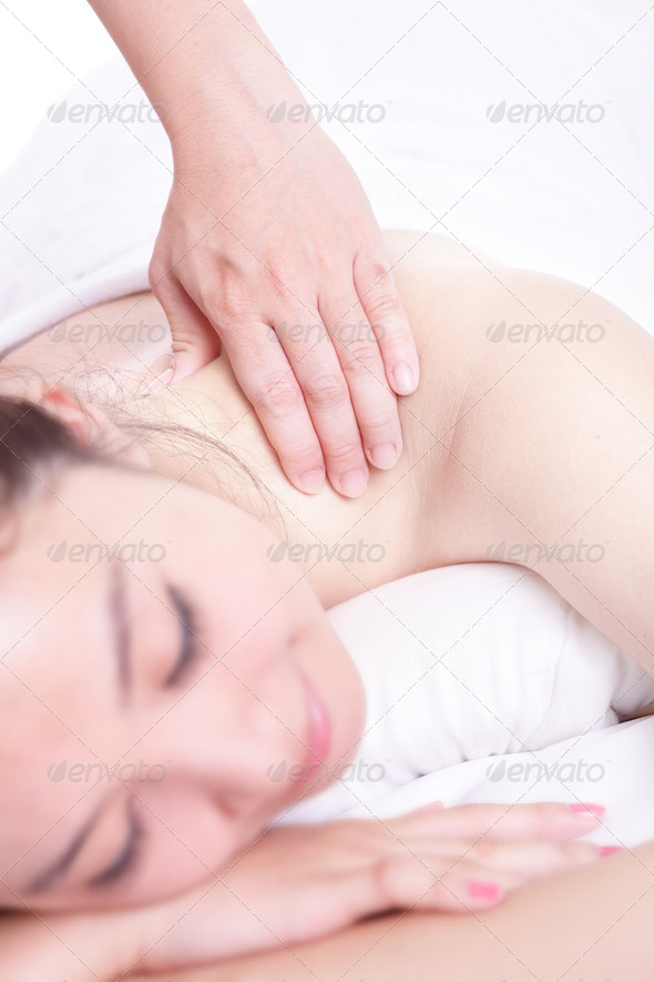 woman smile getting massage and spa treatment - Stock Photo - Images