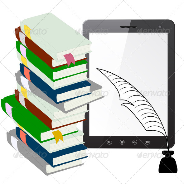 Tablet PC computer with a pen and ink with books - Stock Photo - Images