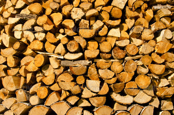 Background of stacked firewood - Stock Photo - Images