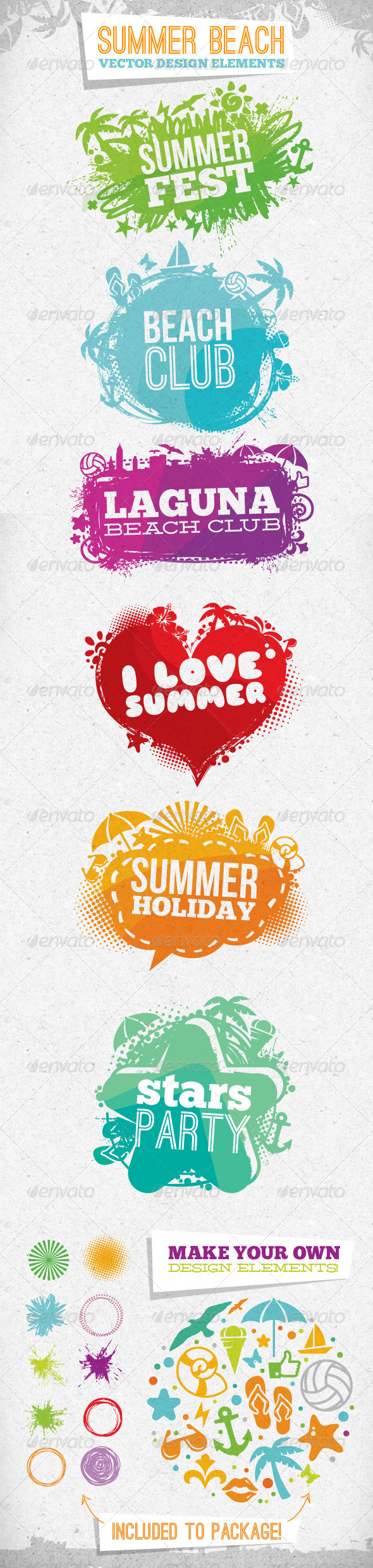 Summer Beach Creative Vector Design Elements - Sports/Activity Conceptual