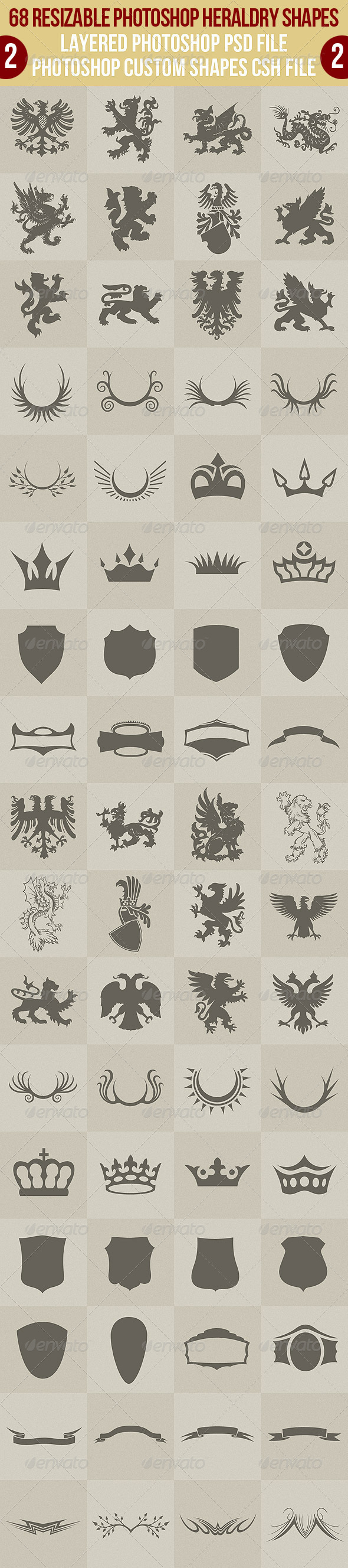 GraphicRiver 68 Photoshop Heraldry Shapes 2 2622486