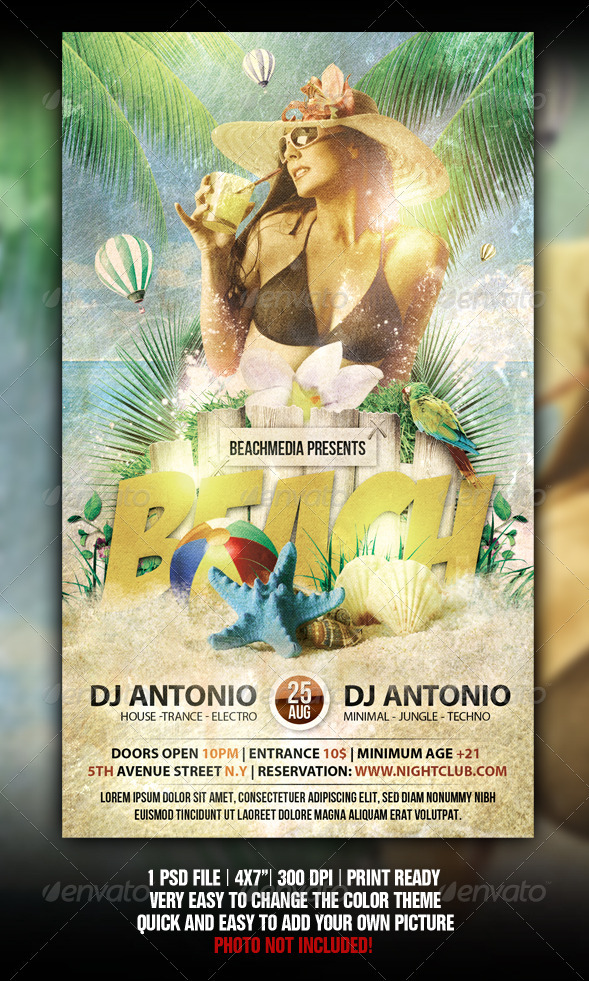 GraphicRiver Vintage Beach Party Flyer 2622727