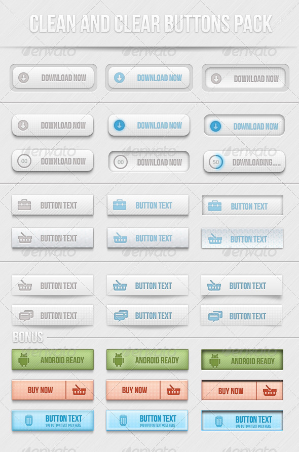 Clean And Clear Buttons Pack - Buttons Web Elements