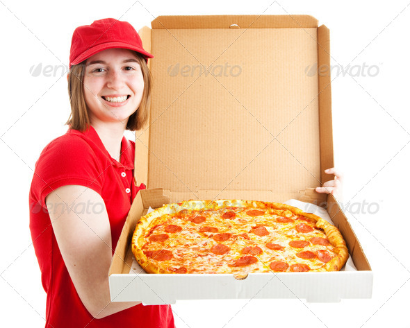 Teen Girl Delivers Pizza - Stock Photo - Images