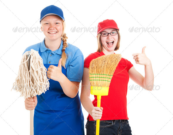 Stock Photo of Enthusiastic Teen Workers - Thumbs Up - Stock Photo - Images