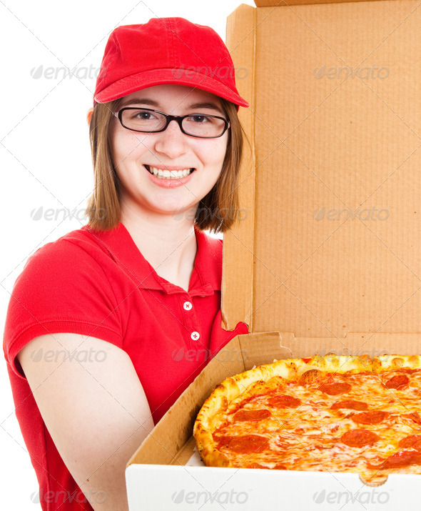 Girl Delivering Pizza - Stock Photo - Images