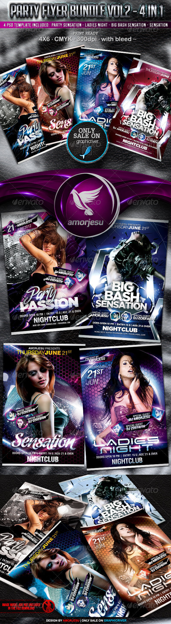 Party Flyer Bundle Vol2 - 4 in 1 - Events Flyers