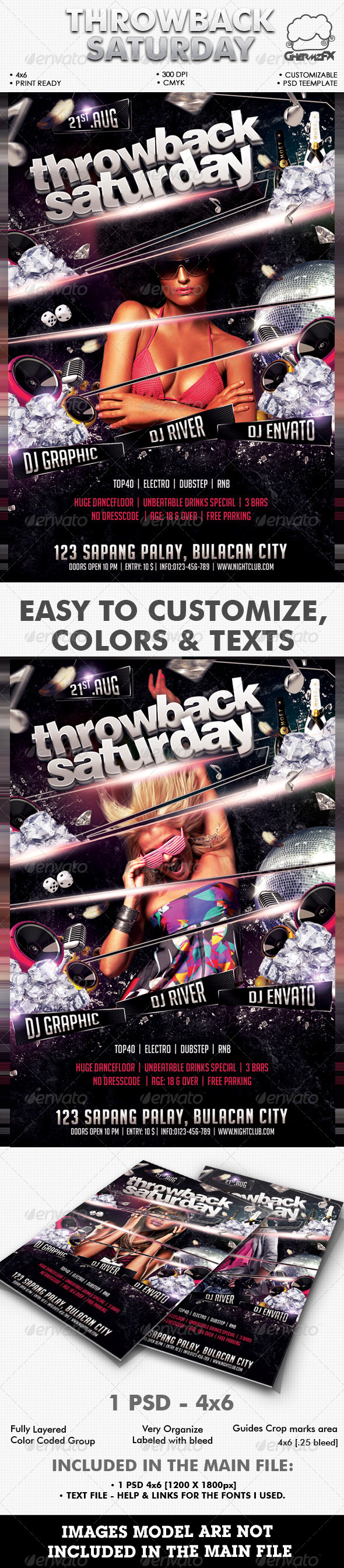 Throwback Saturday Flyer Template - Events Flyers