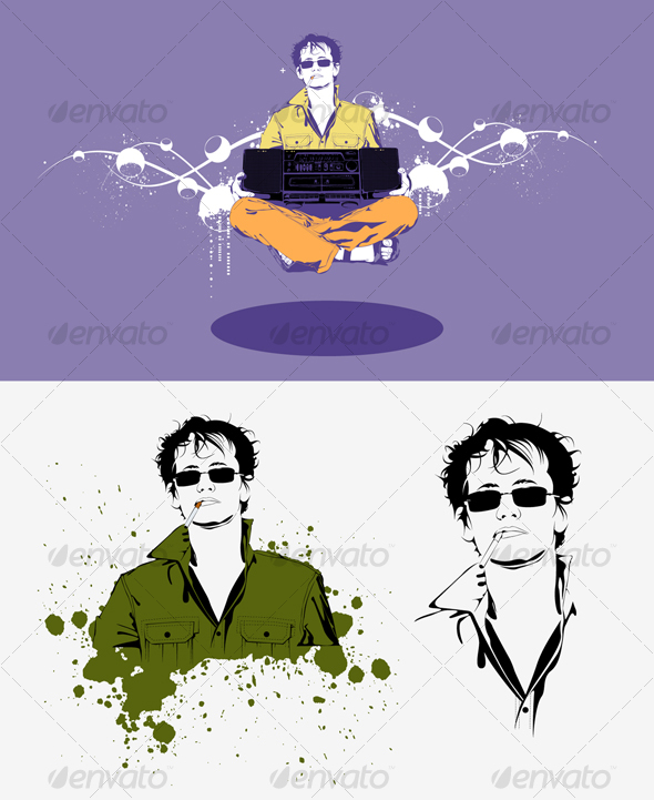 Vector Illustration Guy With a Cigarette - People Characters