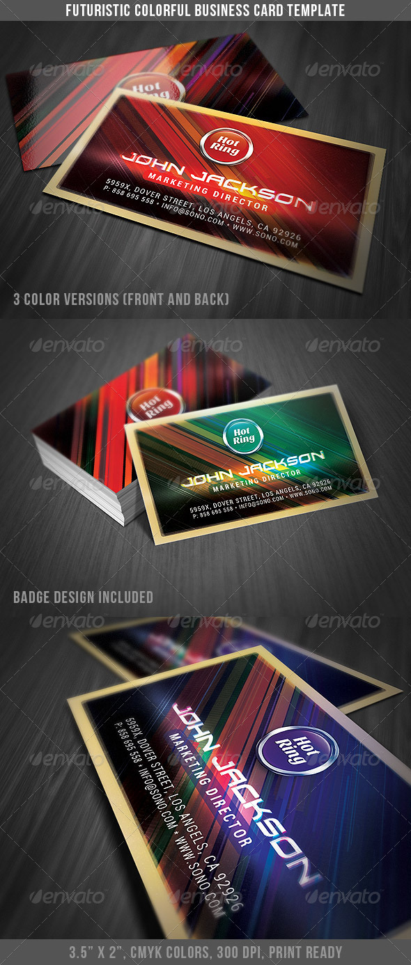 Futuristic Colorful Business Card - Creative Business Cards
