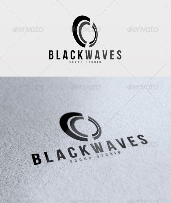 Black Waves Logo - Vector Abstract