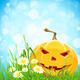 Halloween Background with Flowers and Pumpkin - GraphicRiver Item for Sale