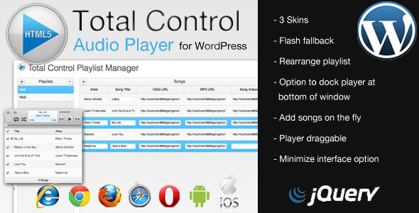 CodeCanyon Total Control HTML5 Audio Player for WordPress 2630564