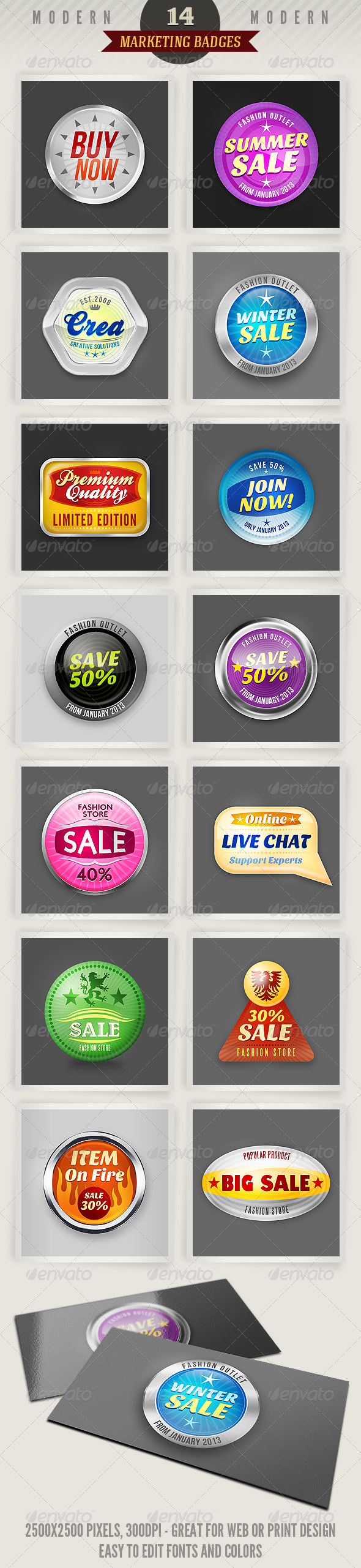 14 Modern Marketing Badges - Badges & Stickers Web Elements