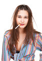 Funny young woman housewife with cigarette - PhotoDune Item for Sale