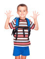 Little boy elementary student with backpack and sandwich box sho - PhotoDune Item for Sale