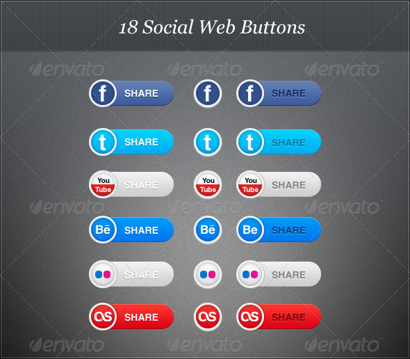 18 Social Web Buttons  - Buttons Web Elements