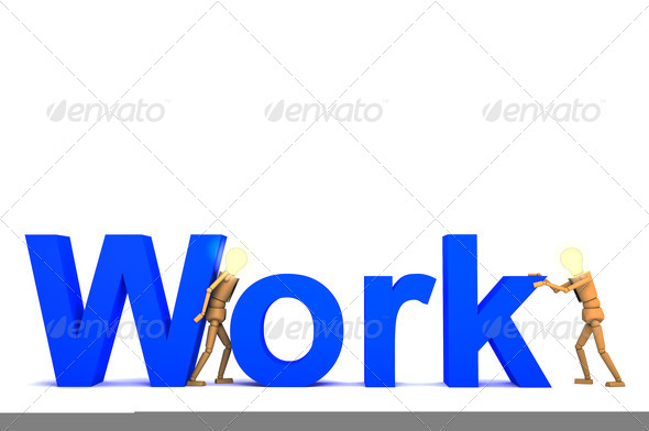 The wooden doll with work word 3d illustration - Stock Photo - Images
