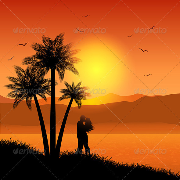 Kissing couple in tropical landscape - People Characters