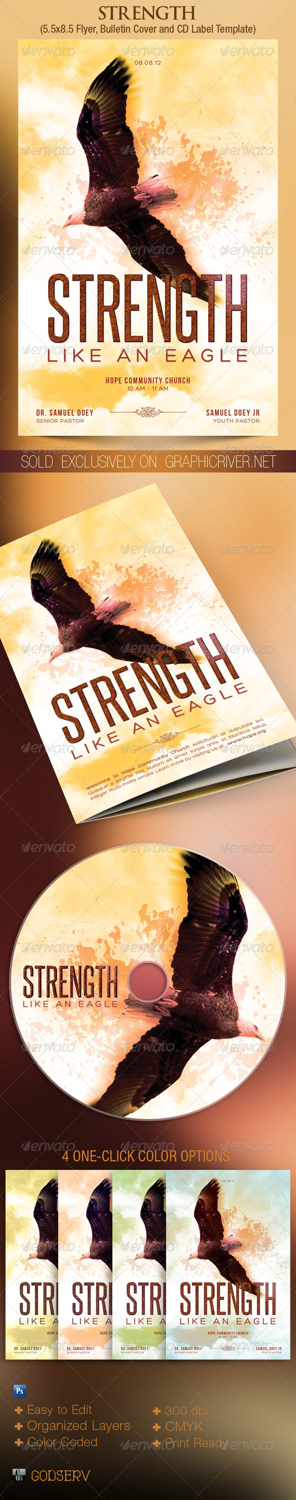 Strength Flyer, Bulletin Cover and CD Label - Church Flyers