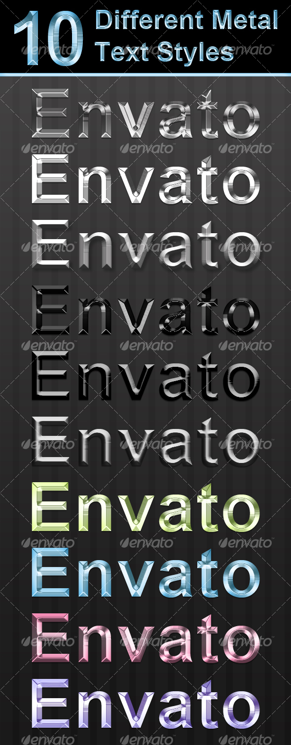 Graphic River 10 Different Metal Text Styles Add-ons -  Photoshop  Styles  Text Effects 94694