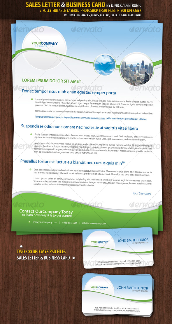 GraphicRiver Sales Letter & Business Card Realestate style 95669